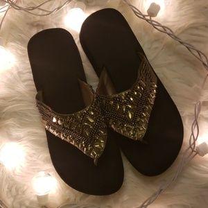 Yellow Box Flip Flop Sandals